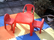 Kid's table,  3 chairs & 13 coloured playmats